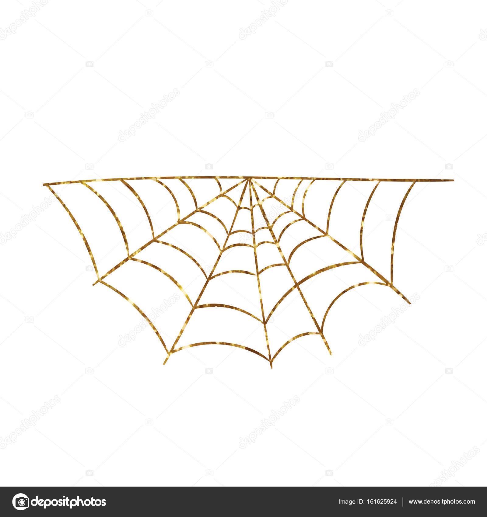 Golden glitter silhouette Halloween holiday spyder web flat