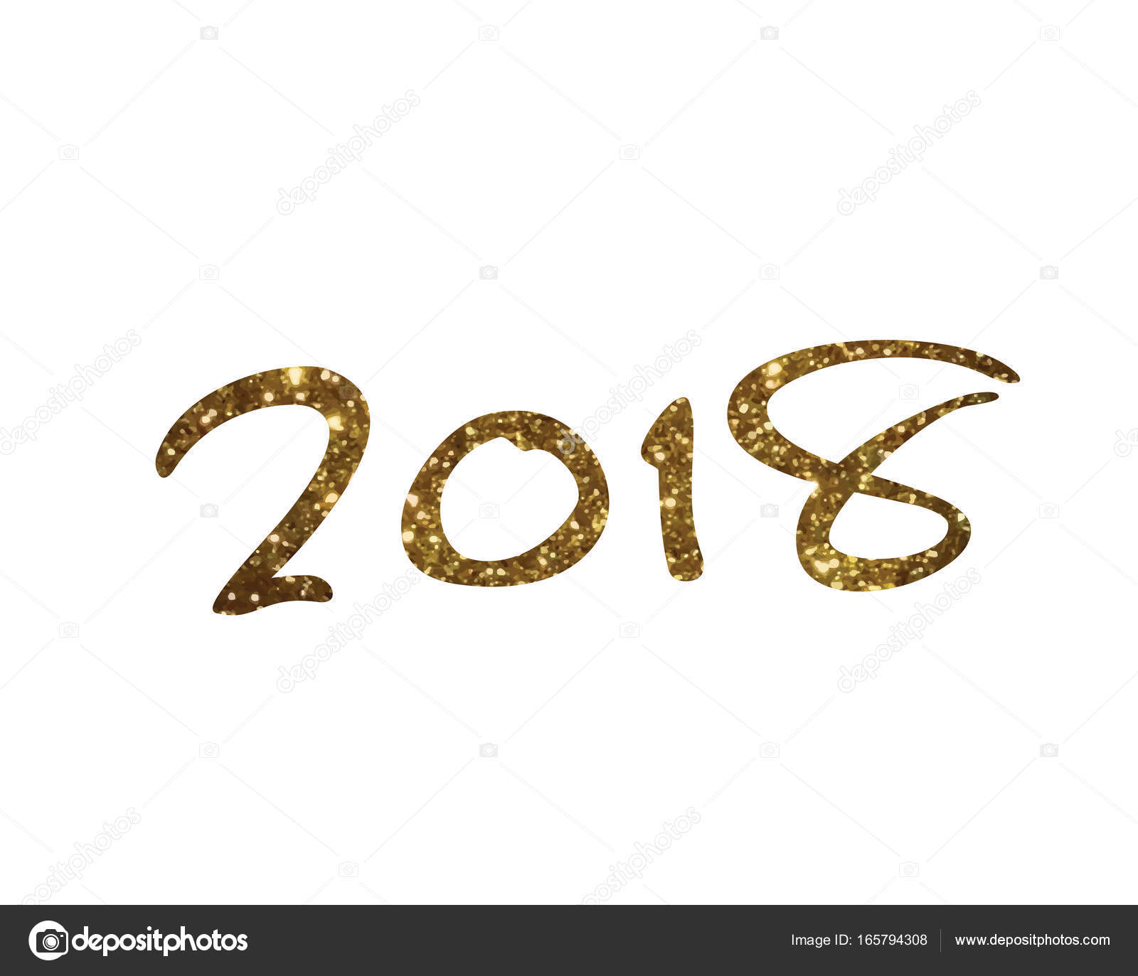 Golden glitter isolated hand writing font word year 2018 — Stock