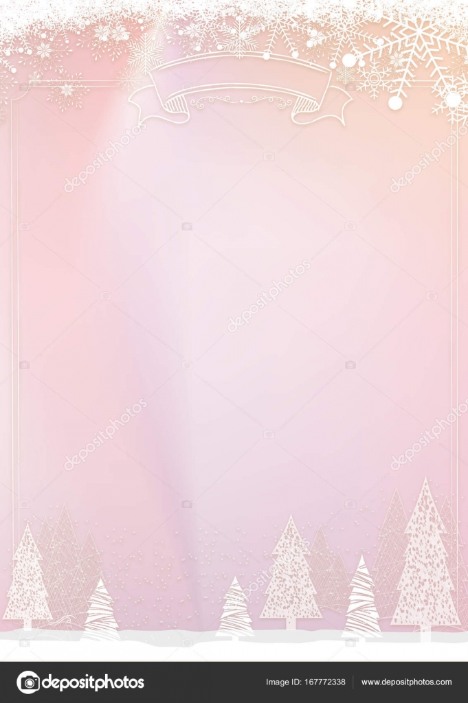 christmas pastel pink background with snowflake and xmas ball bo