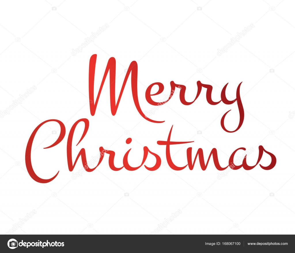 Merry Christmas Writing Images.Gradient Red Isolated Hand Writing Word Merry Christmas