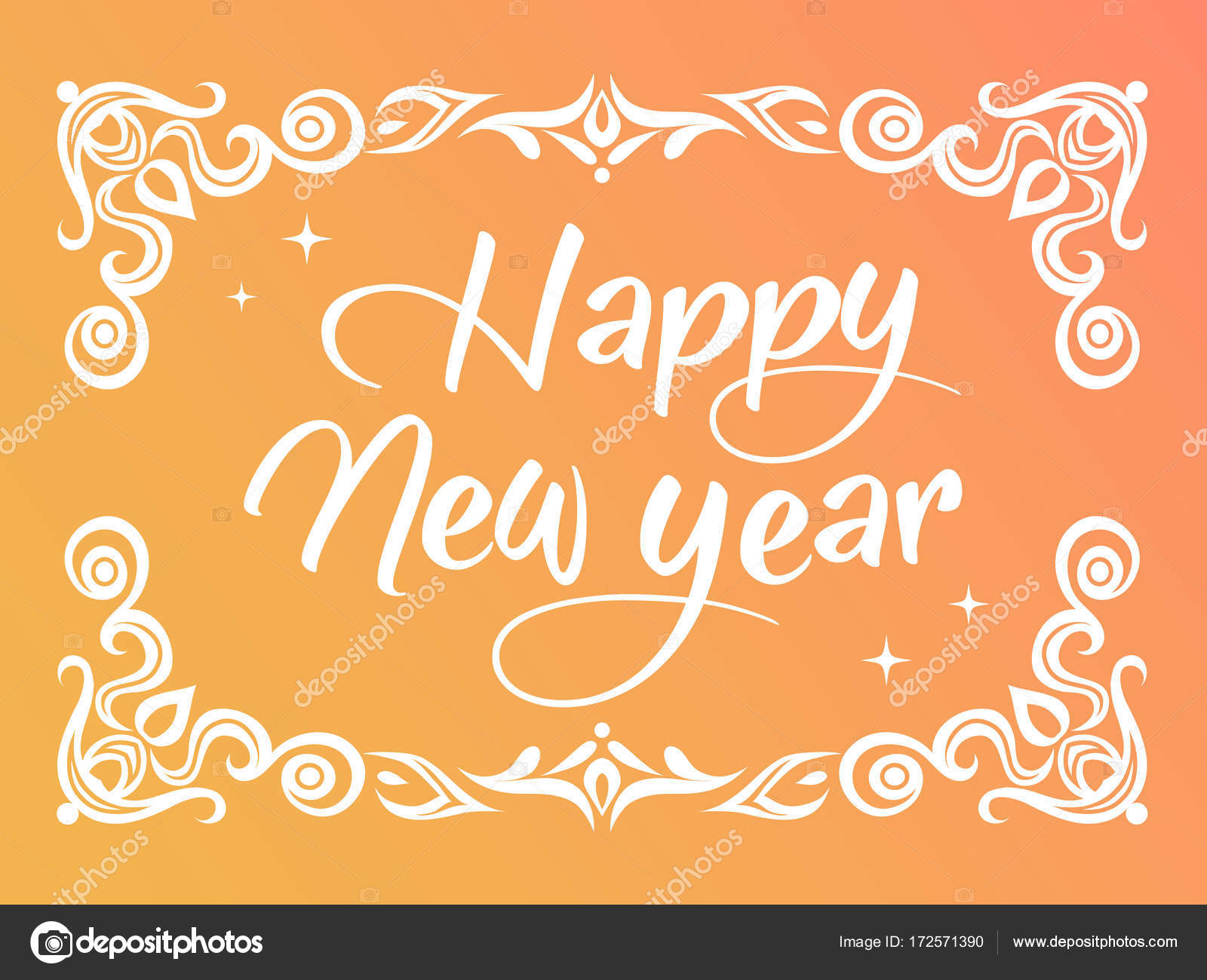 gradient happy new year word with ornamental graphic border stock vector