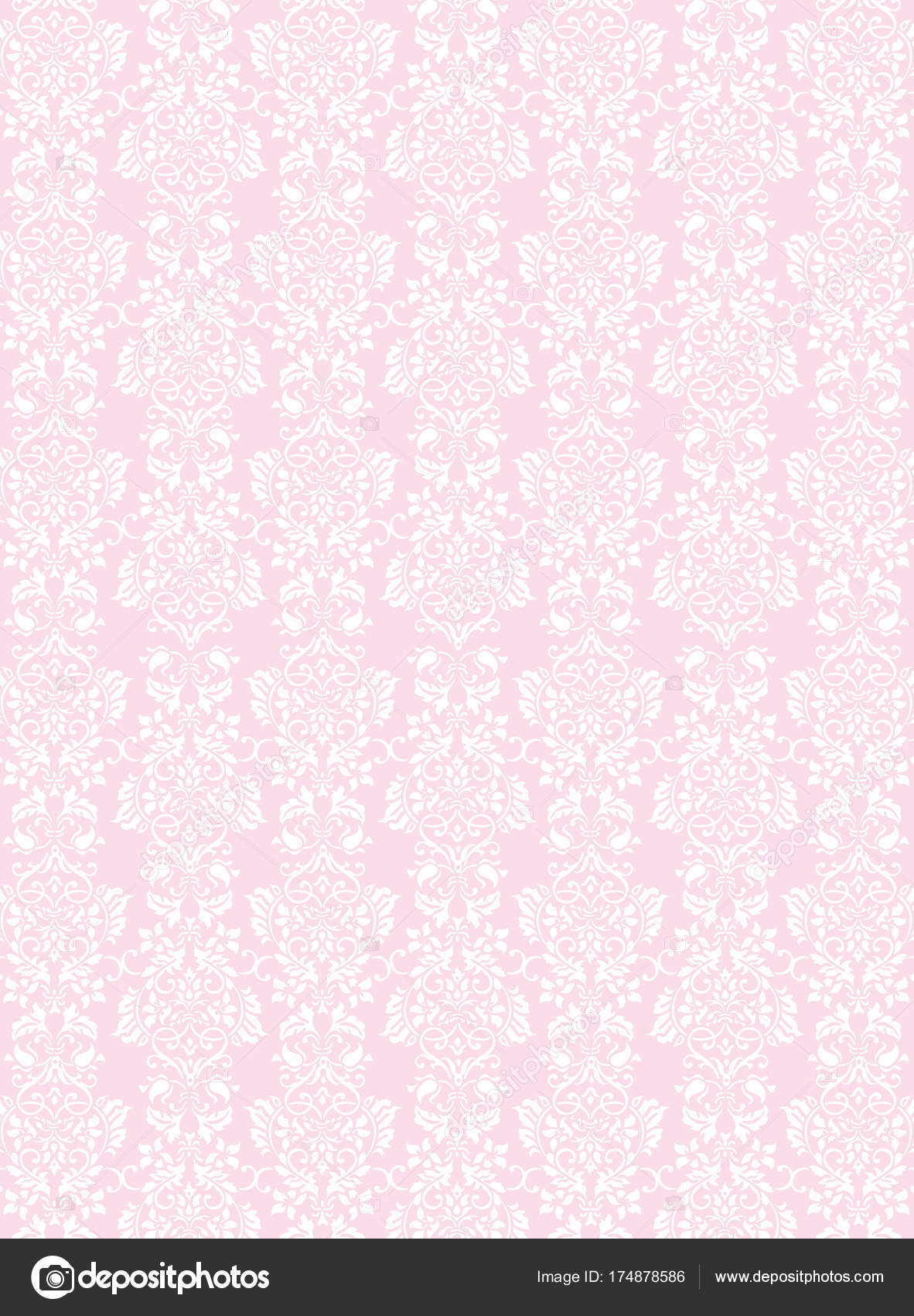 A3 Size Elegant White Flowers Pattern Textured Pink Wallpaper Background Vector By Cougarsan