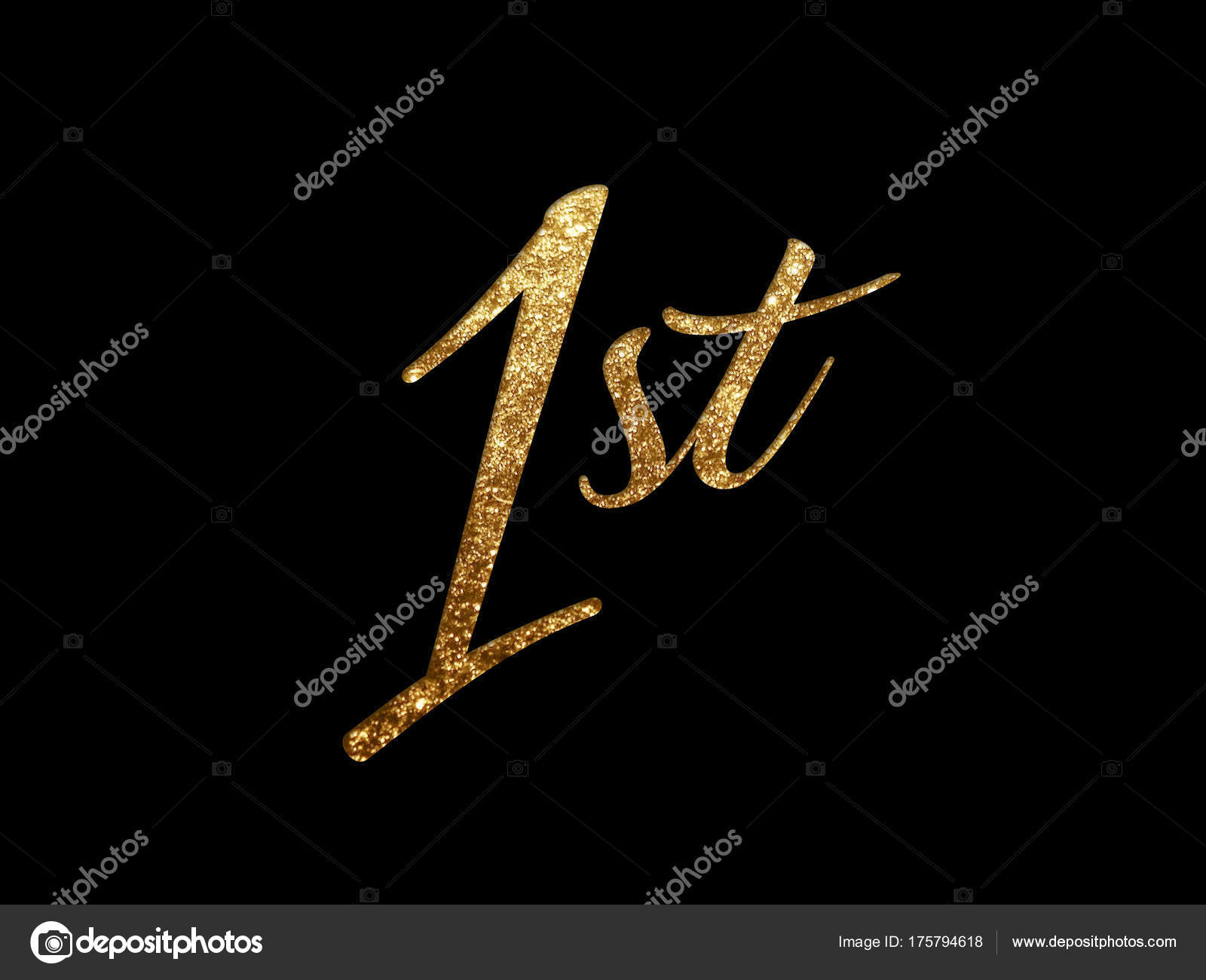 Golden glitter isolated hand writing word first — Stock Photo