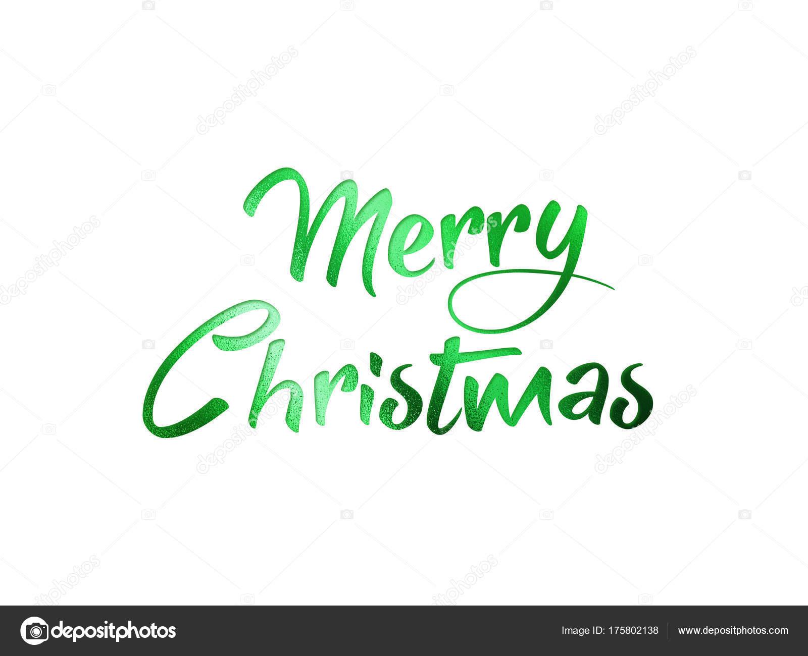 Merry Christmas Writing.Green Glitter Isolated Hand Writing Word Merry Christmas