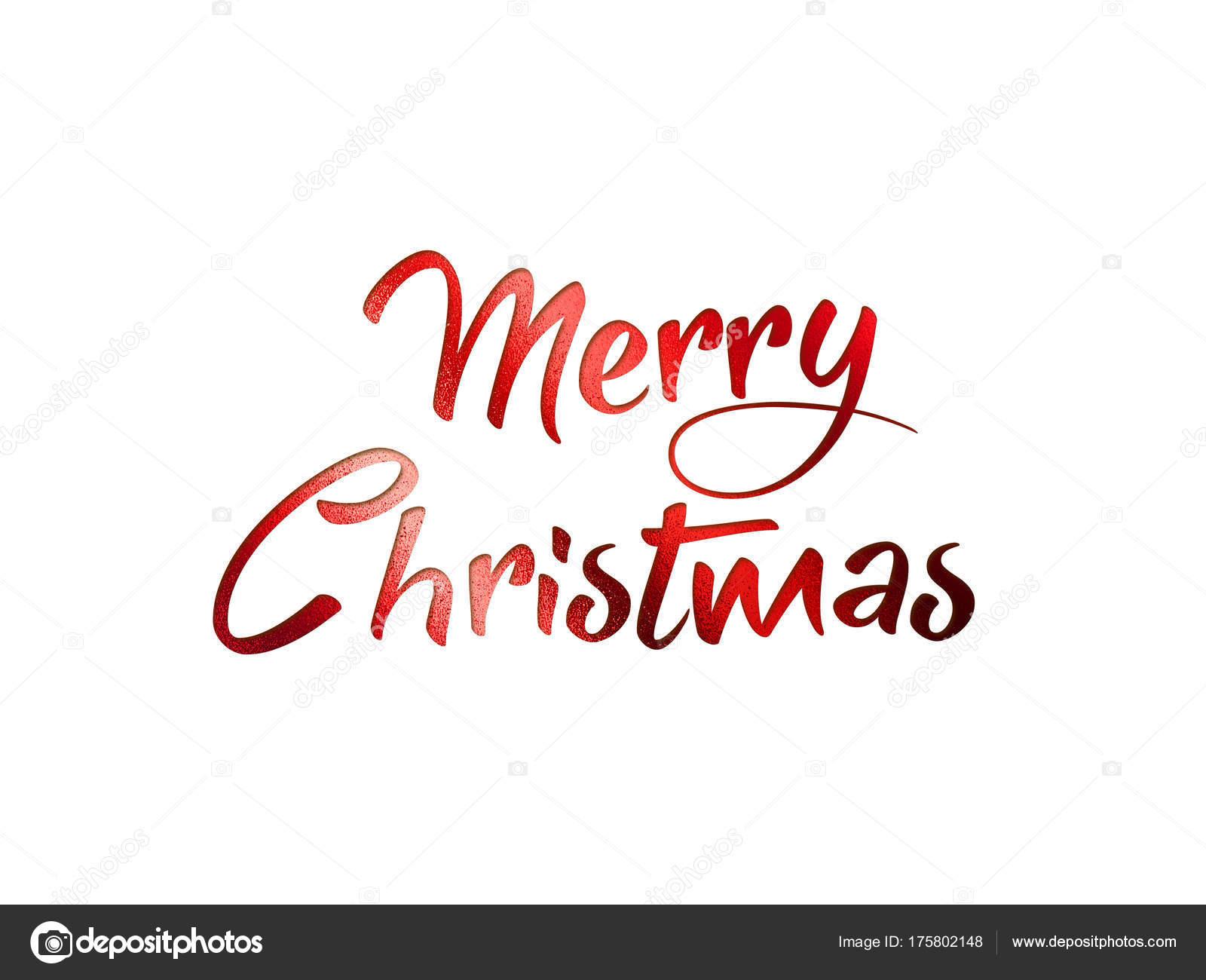 Rot glitter isolierten Handschrift Wort Frohe Weihnachten ...