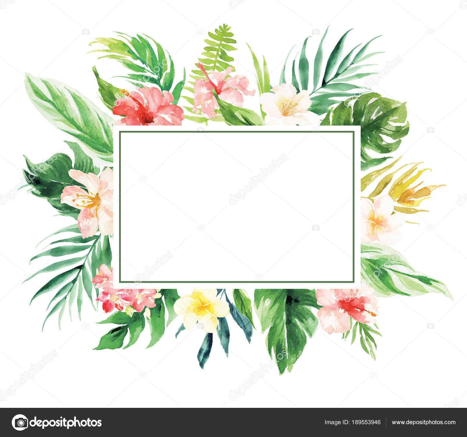 Flower Border With Rectangle Blank Area Wedding Decoration Card