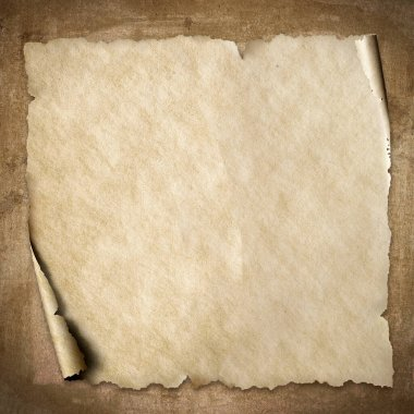 The square old vintage beige paper with corner roll up on brown grungy background