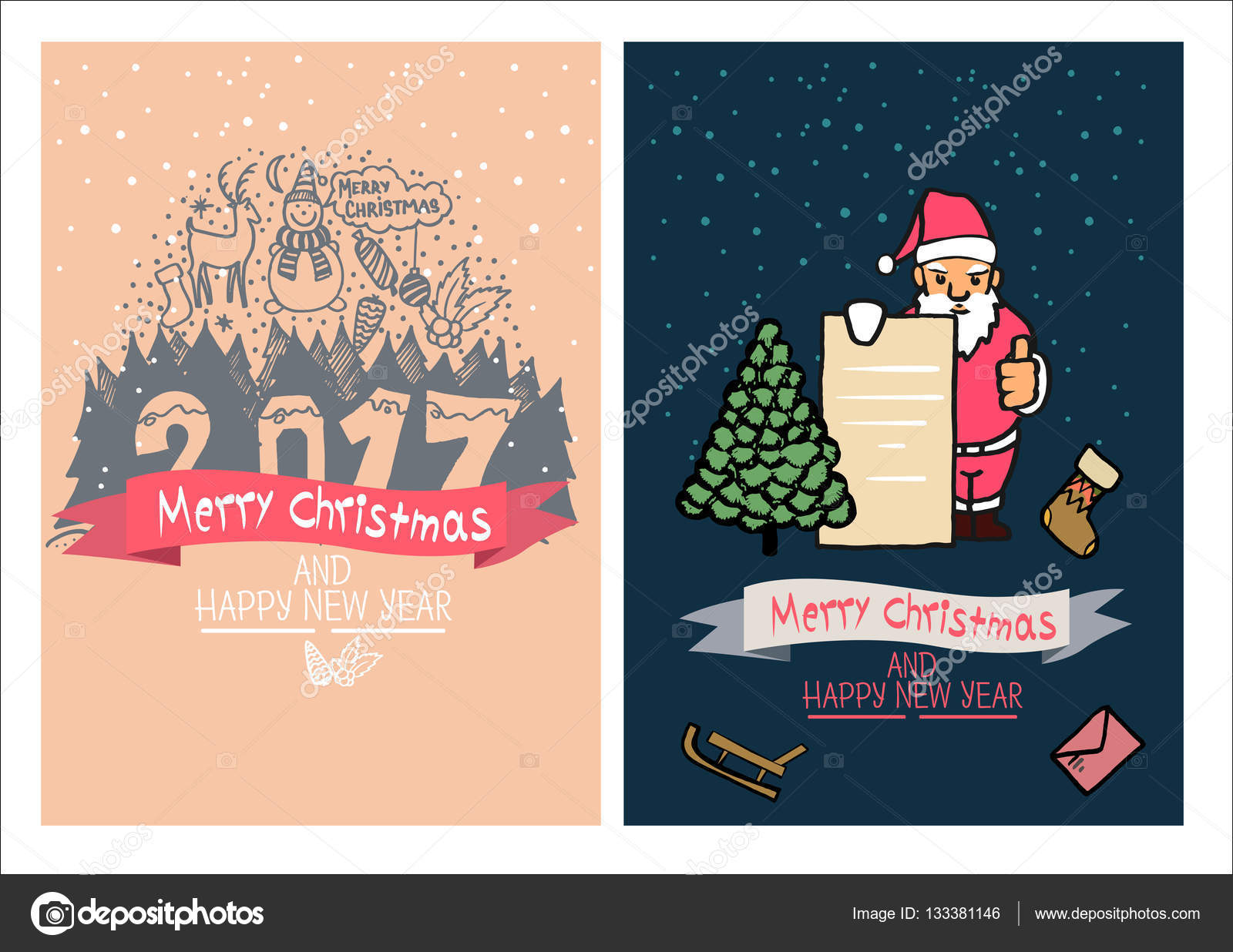 cute christmas card happy new year family holidays greeting templates
