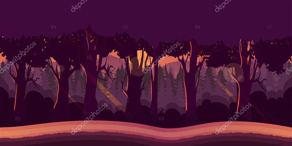 Background for games apps or mobile development. Cartoon nature landscape with forest.