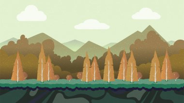 Seamless cartoon nature landscape, unending background with separated layers for game.