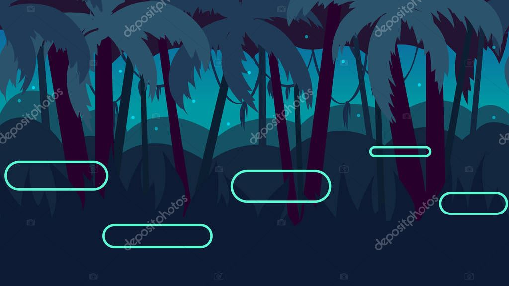 Seamless cartoon nature landscape with different platforms and separated layers for games