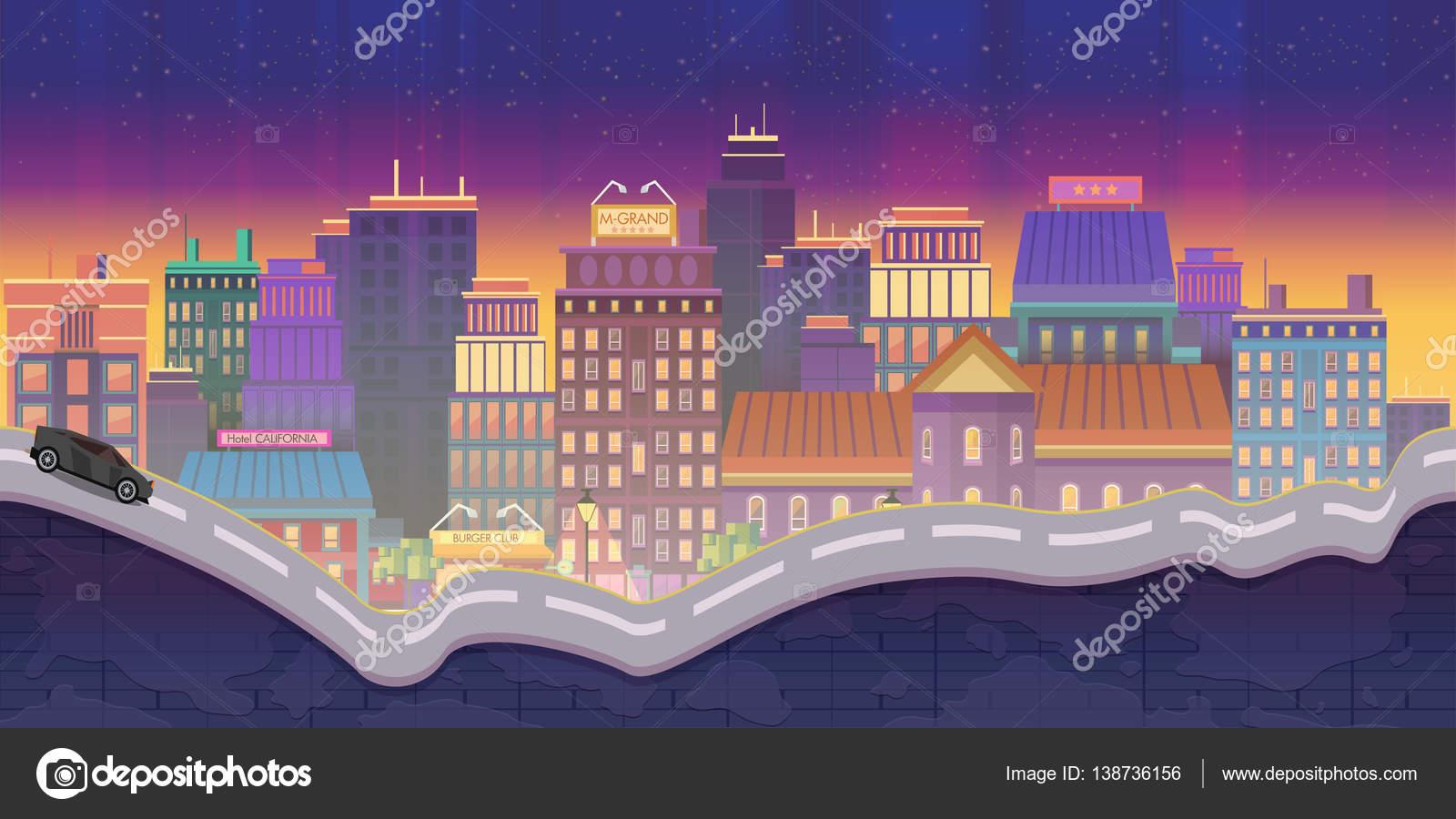 市ゲーム, 夜背景イラスト — ストックベクター © vitaliyvill #138736156