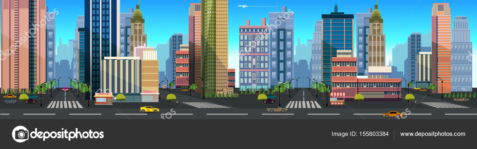 illustration of a city landscape with buildings and road unending background with separated layers