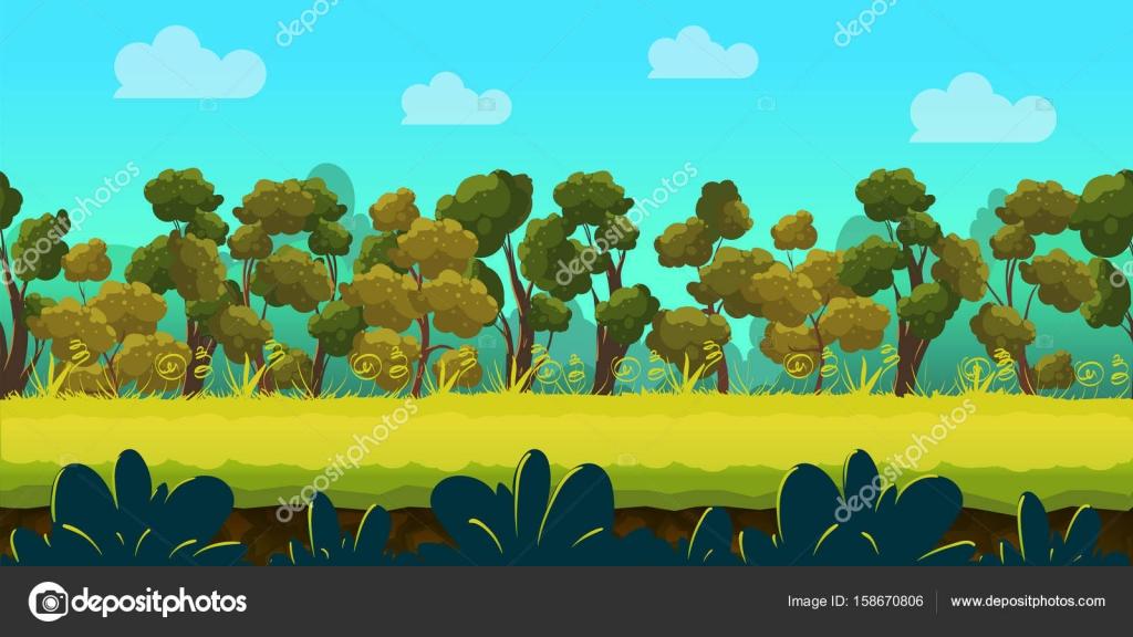 森と緑の前景、ベクトル ゲームの背景 — ストックベクター © vitaliyvill