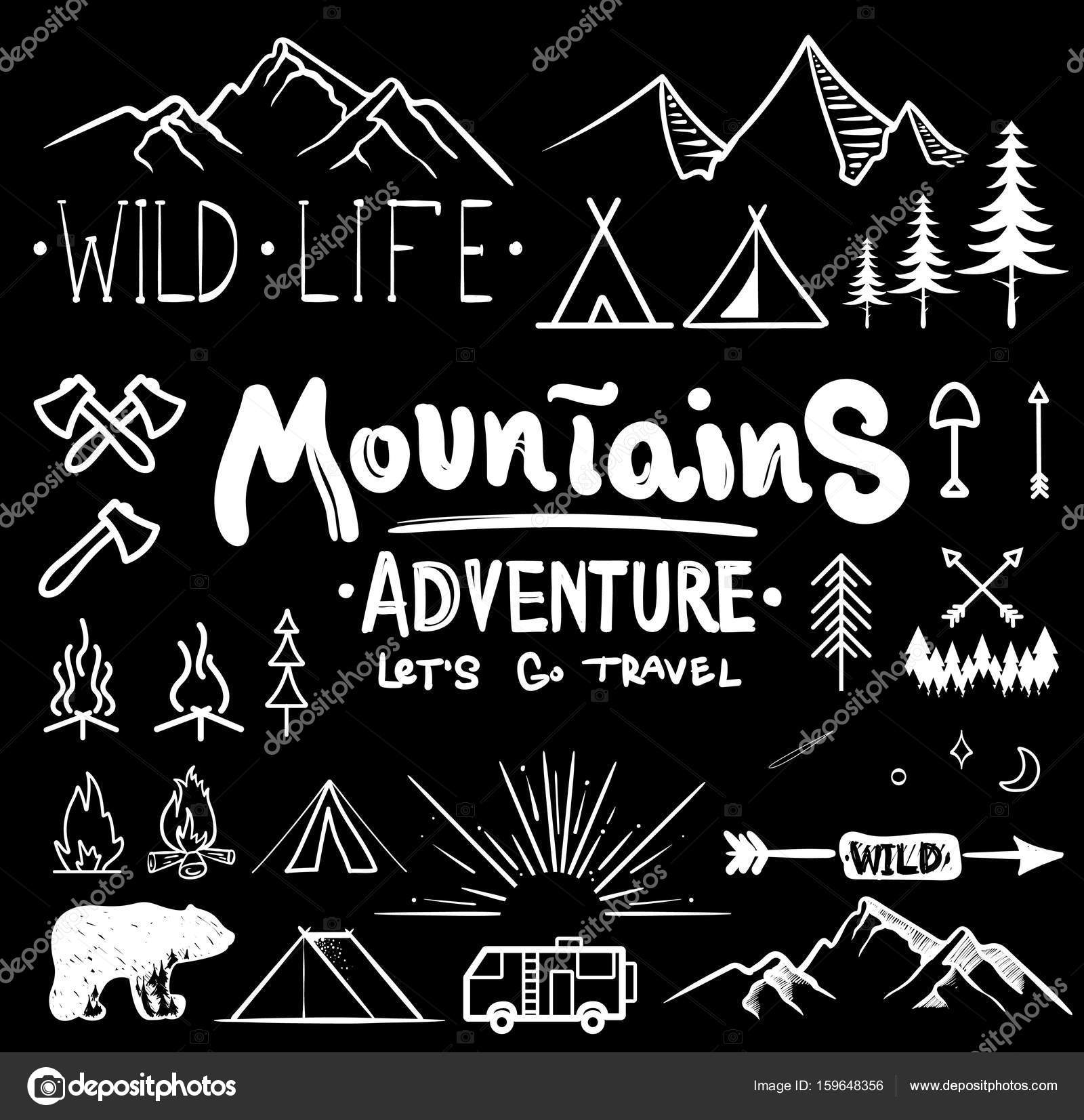 Download royalty-free Black and white camping collection of icon made with ink and brush. Doodle style. Hand drawn set of adventure items. campfire