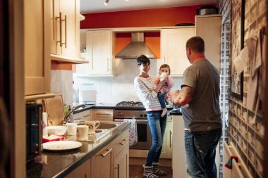 Family in the Kitchen with Baby