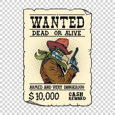 Armed robot cowboy. Steampunk retro ad