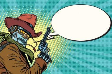Robot cowboy wild West, comic book bubble