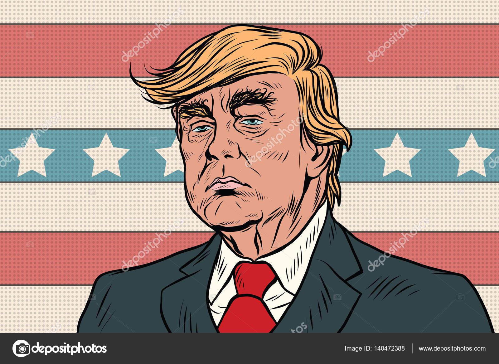 Donald Trump President Of The United States Cartoon Pop Art Retr