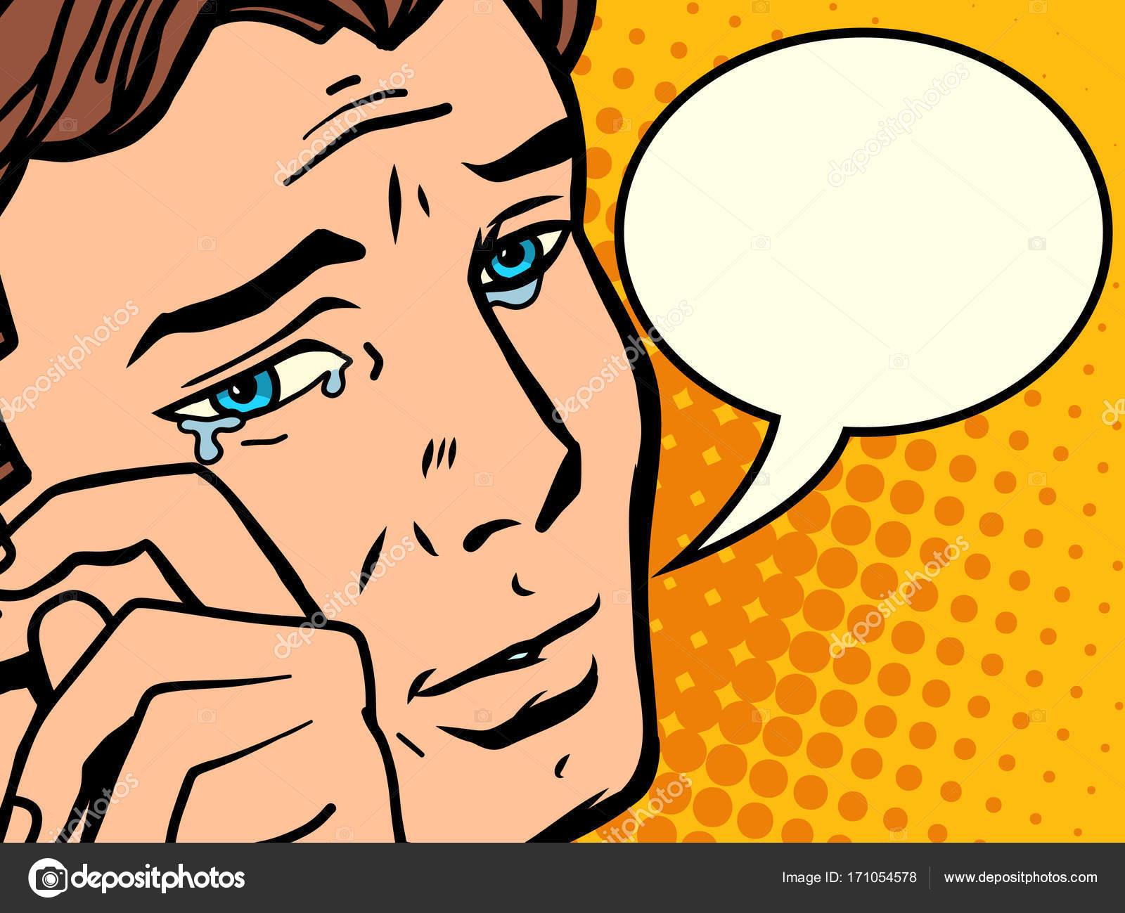 Line Art Vector Illustrator : Comic man wipes tears u stock vector rogistok