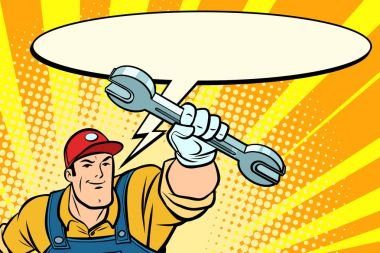 Male repairman with a wrench says comic book bubble