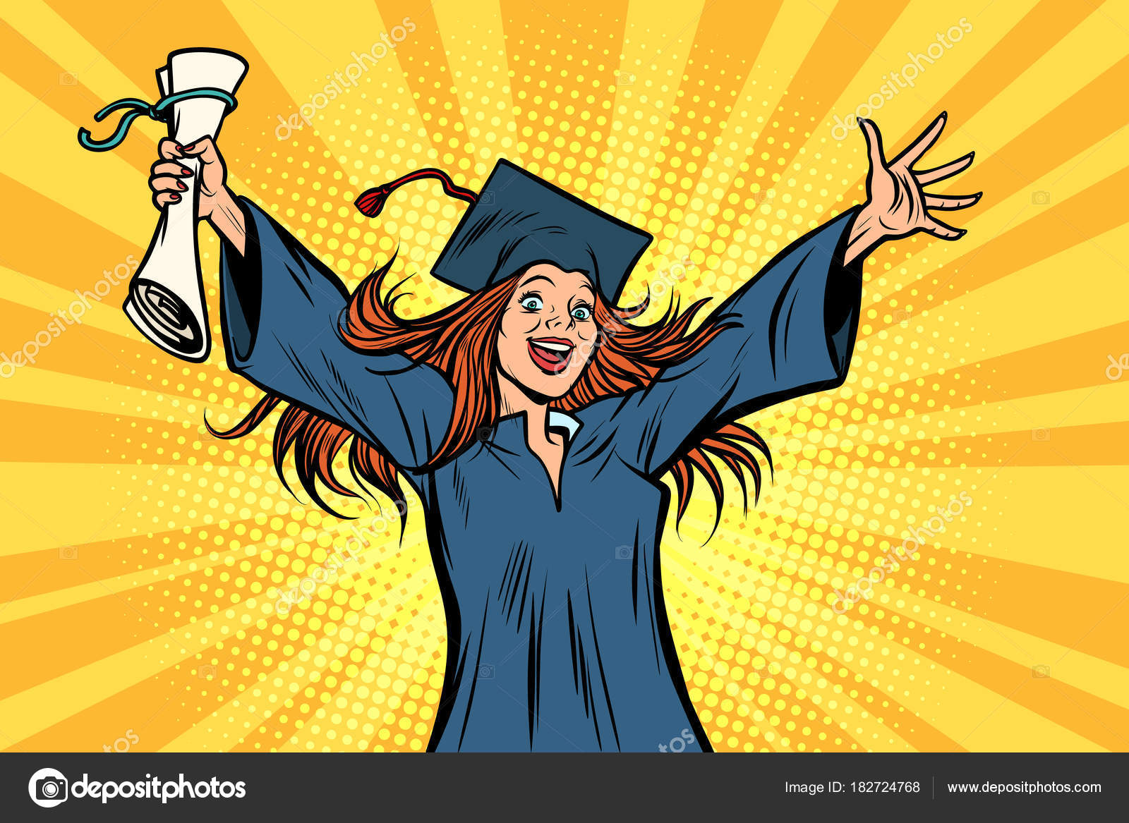 glücklich graduate Studentin der Hochschule oder Universität ...