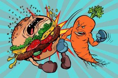 Carrots beats a Burger, vegetarianism vs fast food. Comic book cartoon pop art retro vector illustration stock vector