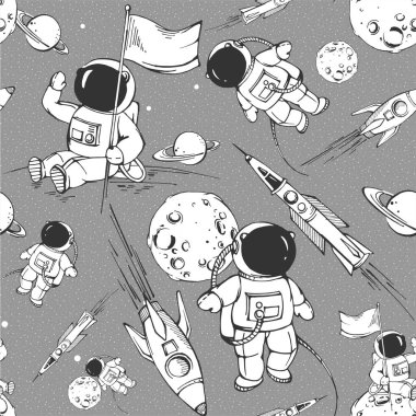 seamless modern pattern with cosmonauts on vector. seamless background for kids with cosmonauts, moon, planets and rockets