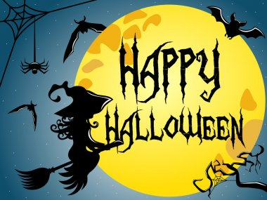 Happy Halloween Silhouette young flying broom full moon