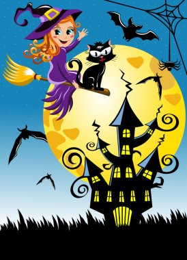 Young witch flying broom halloween night vertical background