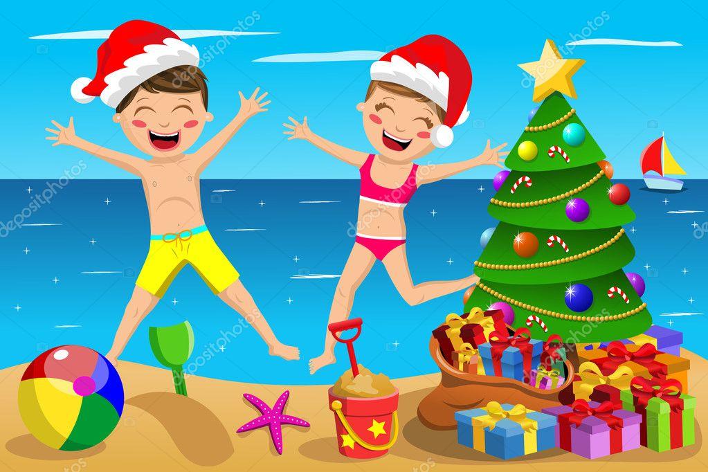 Felices Los Niños Traje De Baño Navidad Sombrero Juego