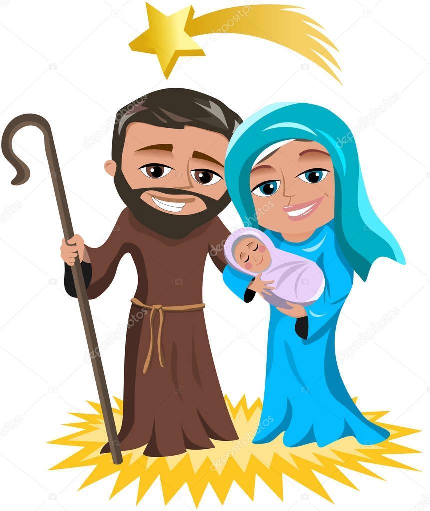 Escena de la Natividad de Navidad con José y María con recién nacido ...