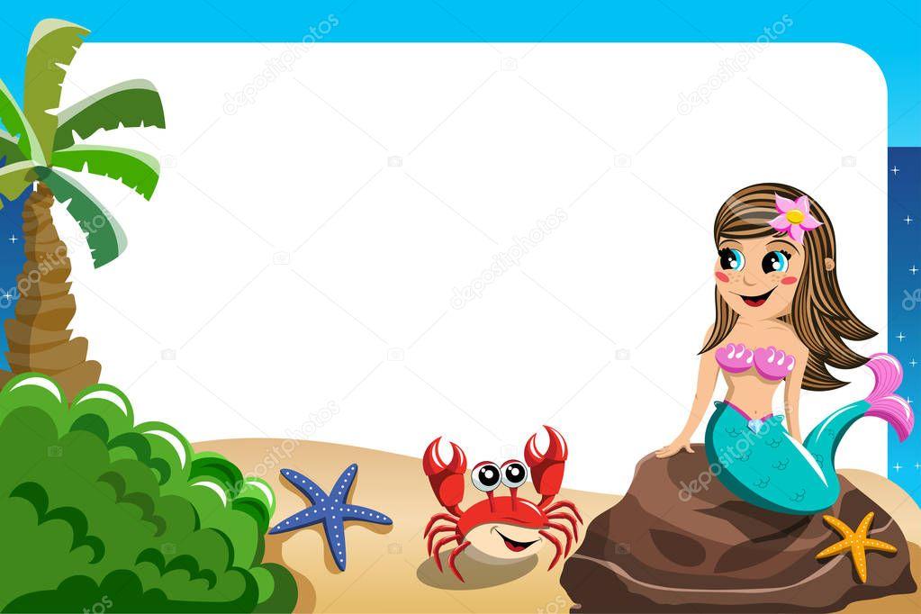 Smiling little Mermaid frame — Stock Vector © canbedone #129137850