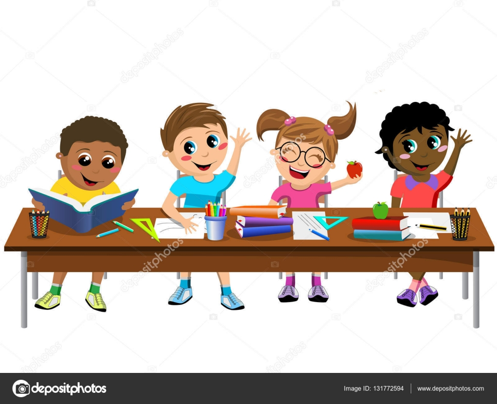 Kids working at desk