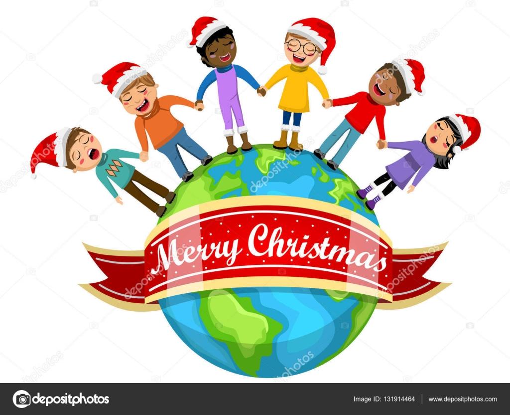 Multikulturelle Kinder Weihnachten Hut singen Christmas Carol Hand ...