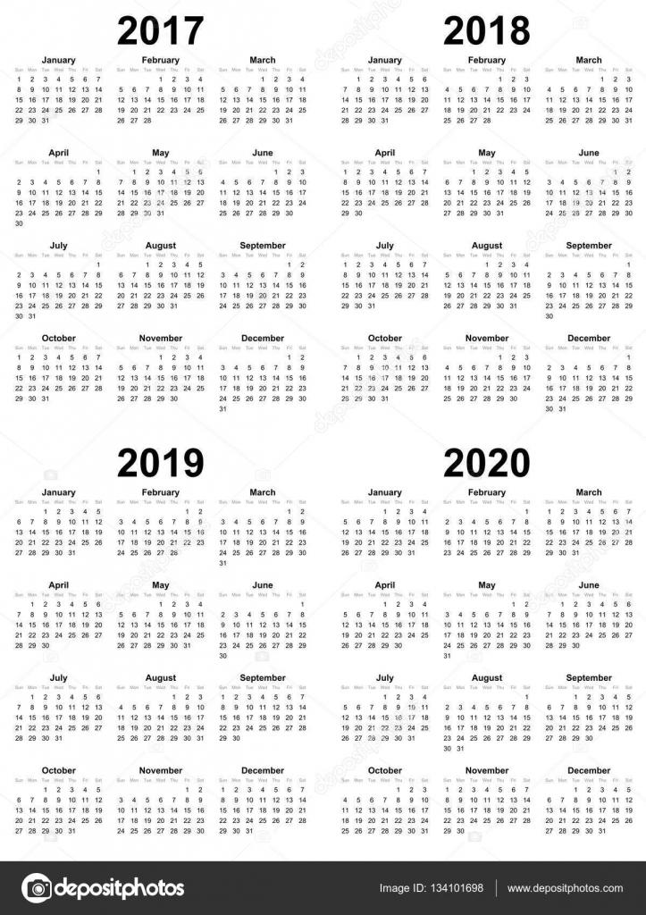 Plantilla calendario simple Vector 2017 2018 2019 2020 — Vector de ...