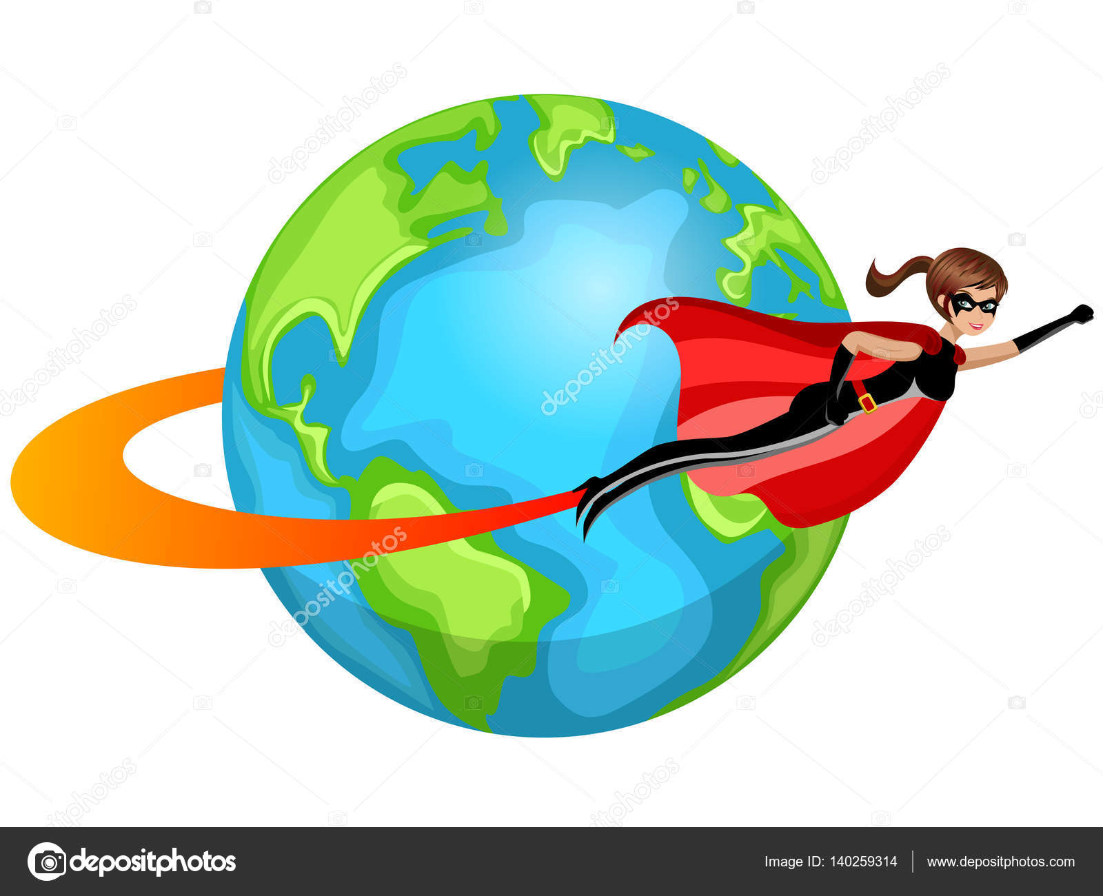 Superhero woman flying around world isolated — Stock Vector ...