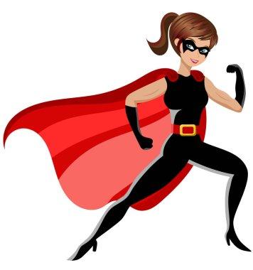 Superhero woman fighting isolated