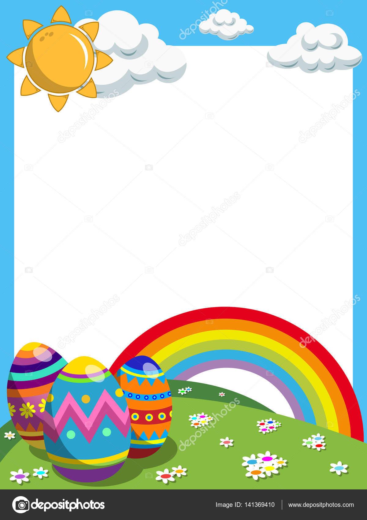 Marco vertical de Pascua decorado Prado de arco iris de huevos ...