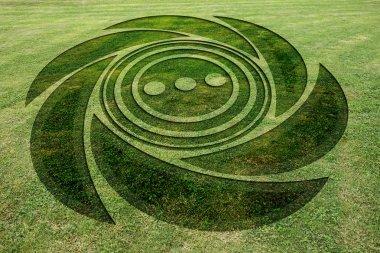Concentric spiral circles fake crop circle meadow