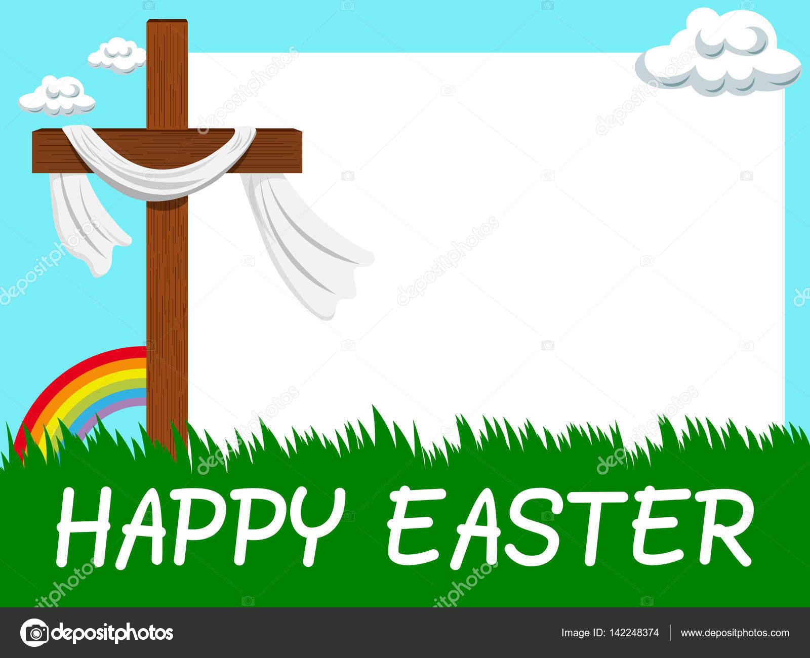 Feliz cruz cristiana de marco en blanco horizontal de Pascua en el ...