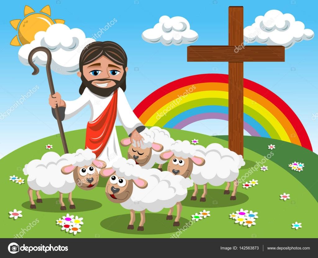 Desenhos Animados Jesus Segurando O Pau E Acariciar
