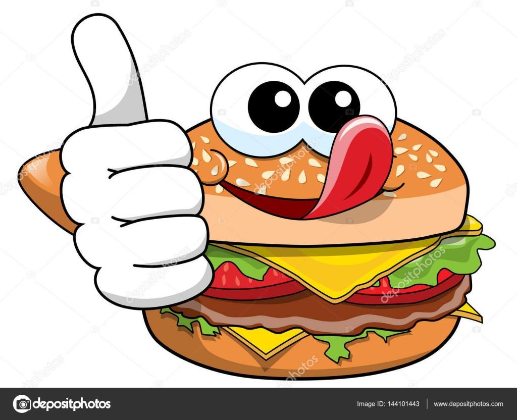 Fast Food Restaurant Floor Plan Dibujos Animados Hamburguesa Personaje Pulgar Arriba