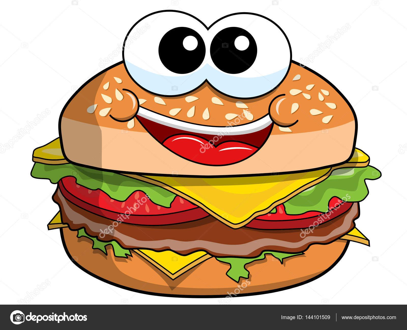 Happy Cartoon Hamburger Character Isolated Stock Vector
