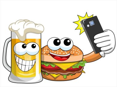 Cartoon hamburger and beer characters taking selfie with smartphone isolated clip art vector