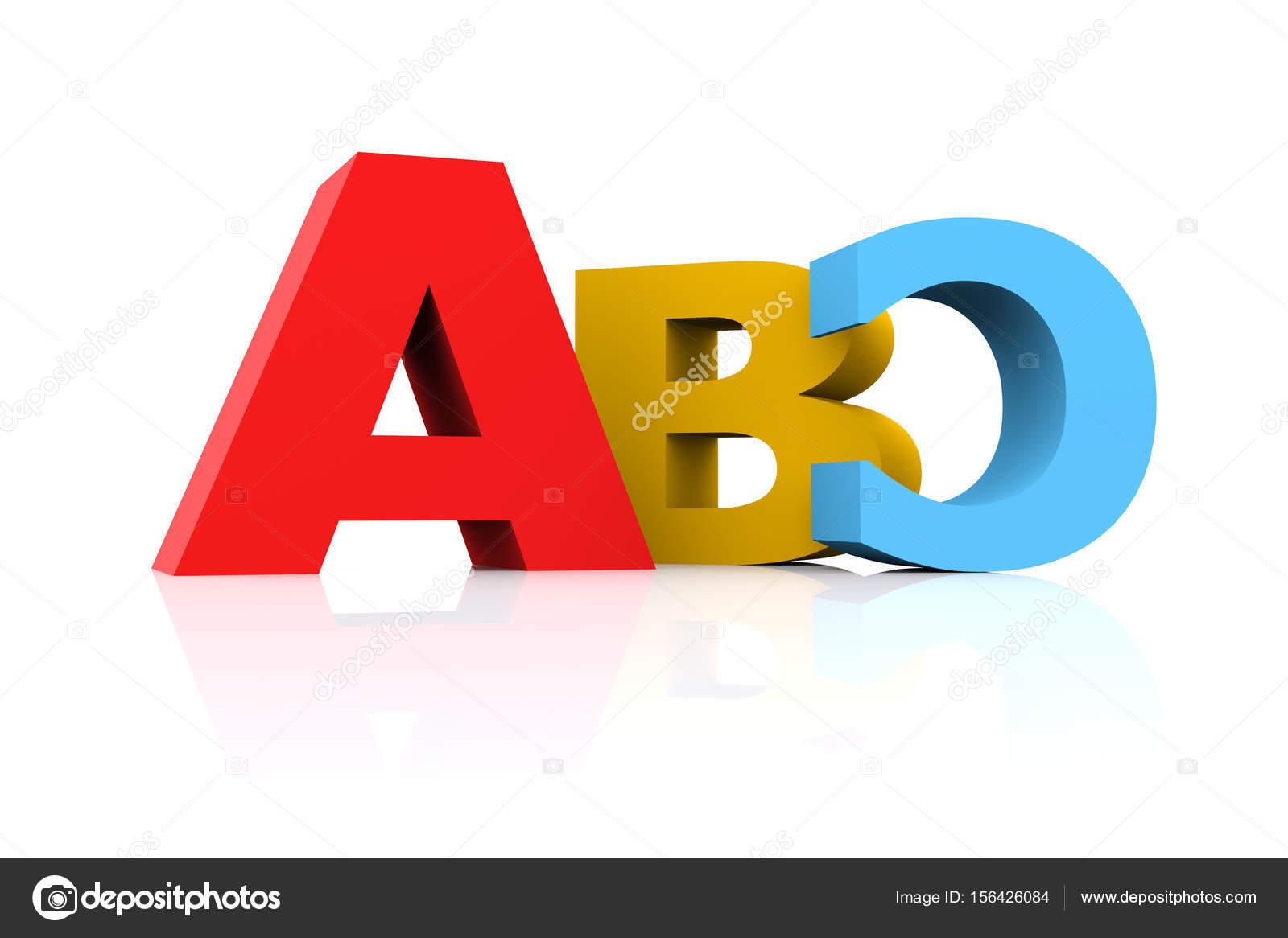 Illustrazione 3D Che Caratterizza Multicolore Girato Capitale Abc Su Superficie Riflettente Bianca Foto Di Canbedone