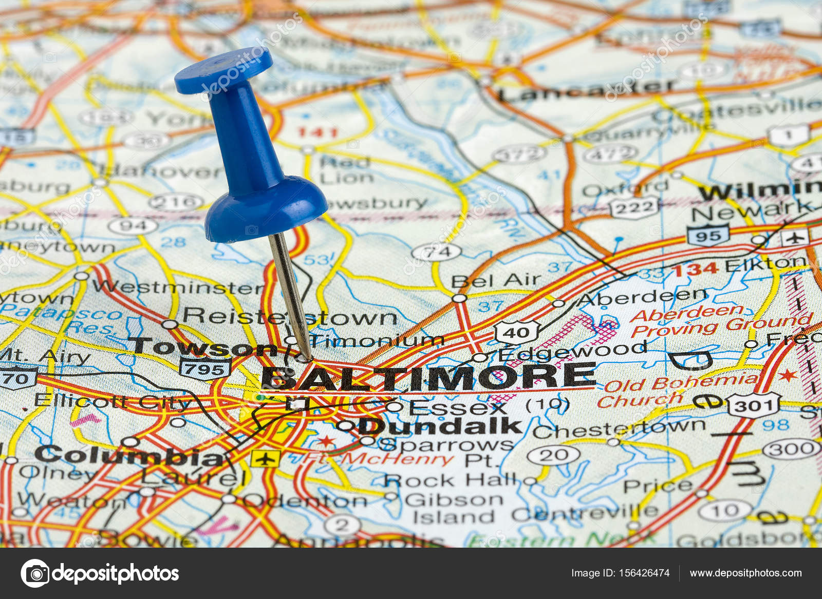 Baltimore Maryland USA Charm City highlighted with a blue push pin