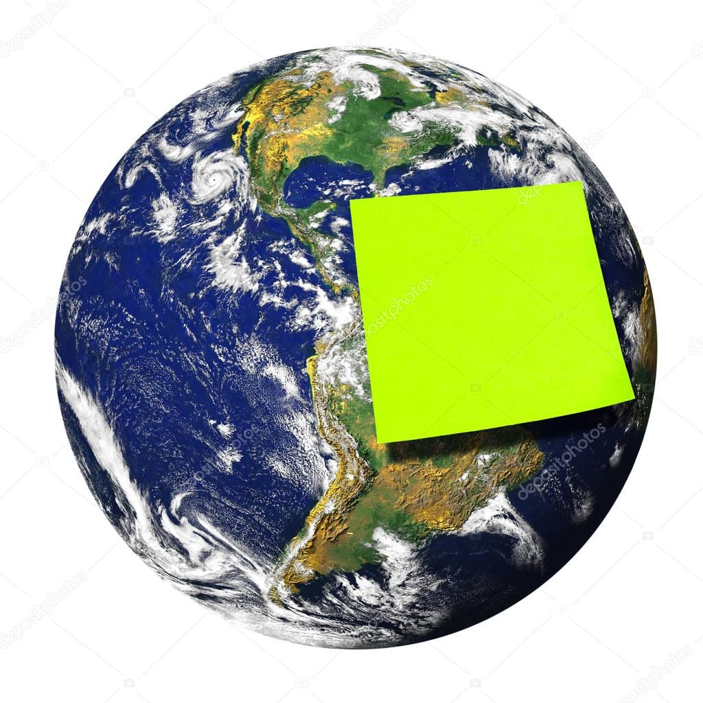 Blank green postit glued on Earth isolated. Earth image provided