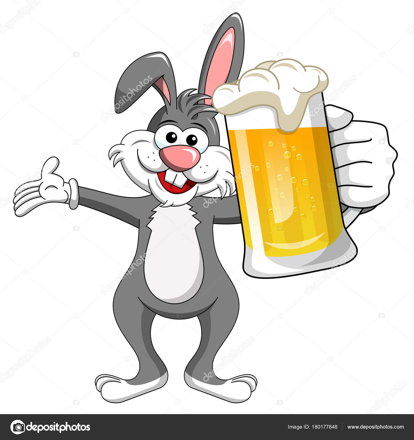 Bunny Or Rabbit Drinking Mug Beer Isolated Stock Vector