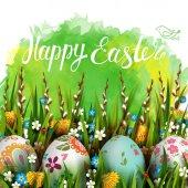 Fotografie Vorlage-Vektor-Karte mit realistischen Eiern und Blumen